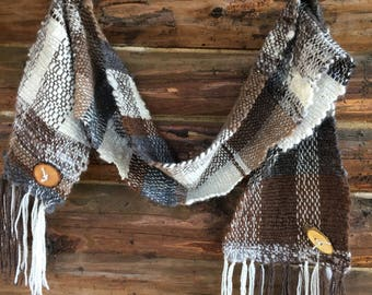 Hand woven scarf, wrap, boho chic, handmade from our own animals, weaving, one of a kind, made from handspun yarn