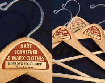 Vintage Clothing wooden Clothes Hangers 3 Wishbone brand Hart Schaffner & Marx Monroes Wenatchee Washington made in USA