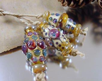 Handmade lampwork glass bead set, Artisan glass beads, blue beads, purple beads, ivory beads, gold beads, bicone beads, SRA lampwork beads