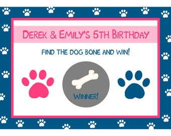 24 Personalized Birthday Scratch Off Game Cards  - Puppy Party - Dog Party - Paw Print Party - Boy or Girl - Twins - Custom Colors