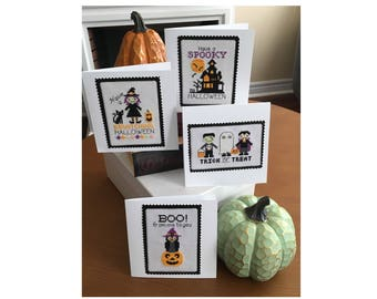 Fun Halloween Cards Cross Stitch Pattern Instant Download
