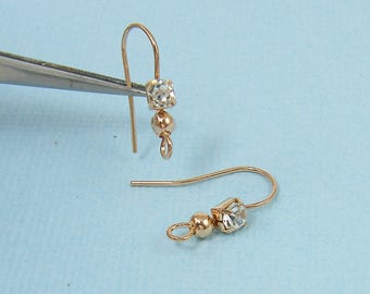 Rose Gold Earring Wire with Clear Rhinestone, Rose Gold Plated Earwire Earring Hook Finding |CO2-16|6