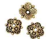 40% Retirement Closeout - Bead Caps, 4 Rounded Petal, Antiqued Gold Tone, 10mm, 25 Pieces, 8S-CAGTRD-025-010