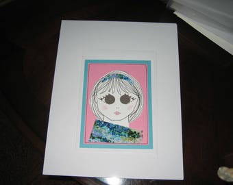 Greeting Card Mixed Media Girl Face