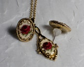 CUSTOM LISTING for gattopardessa ** Petit Point Vintage Gold Pendant & Earrings with Red Rose