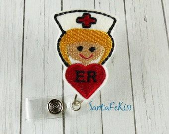 ER Nurse Badge Holder with Retractable Badge Reel - ER Badge Reel