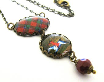 Scottish Tartan Jewelry - Ancient Romance Series - Sinclair Clan Tartan Necklace w/Equestrian Charm and Coral Red Czech Glass Bead