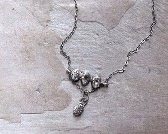 Herkimer Diamond Necklace - Raw Crystal Necklace -Bezel Necklace -Oxidized Sterling Silver Necklace -Simple Modern Necklace -Dainty Necklace