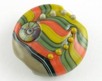 Beadbijoux Striped Handmade Lampwork Glass Focal Bead SRA Multicolor Coral Mustard Sage Green Grey/Beige