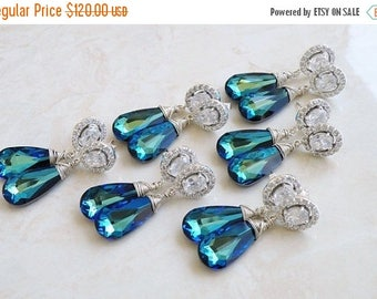 Summer Sale Swarovski Earrings Peacock Blue Teardrop Silver CZ Stud of 3 pairs