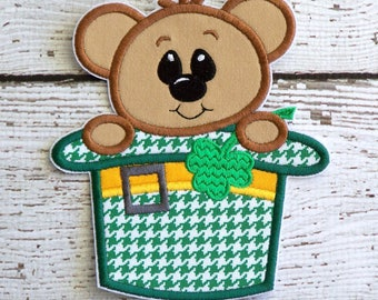St. Patrick's Day Bear Iron On Applique