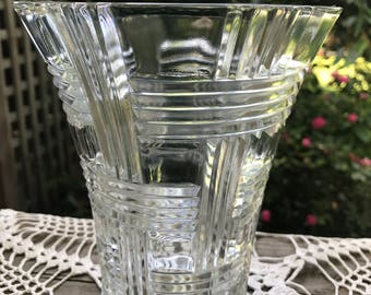 Vintage Clear Glass Basket Weave Pattern Vase
