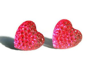 Pink Sparkle Heart Earrings, Resin Heart Earrings, Crystal Heart Studs, Bright Sparkly Stud Earrings