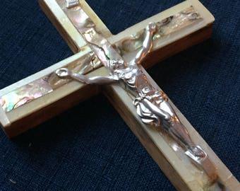 Wood  Abalone Cross, Abalone Decor, Crucifixion of Jesus Christ, Christian Cross, Religious Orthodox Cross, Catholic Cross, Wall Cross box g