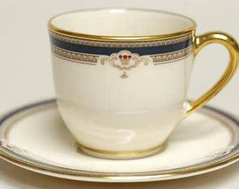 Buchanan by LENOX Flat Demitasse Cup & Saucer Set, Discontinued 1985 - 1999 - Beautiful China! Presidential, Cobalt,Tan Scrolls