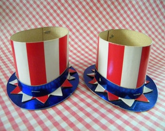 Vintage Pair of Party Favor Candy Holders Uncle Sam Hat Independence Day 4th of July