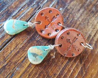 Turquoise and Leather Earrings - Crossed Arrows - Hand Stamped - Western Jewelry - Cowgirl Jewelry - Southwestern  - Cowgirl Earrings