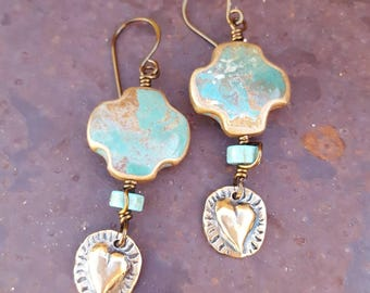 Turquoise Cross Earrings - Bronze Hearts - Cowgirl Style - Santa Fe Style - Southwestern - Cowgirl Jewelry by Heart of a Cowgirl