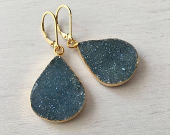 Blue Druzy Drop Earrings,Druzy Earrings,Gold Druzy Earrings,Druzy Teardrop,Drusy Earrings,Geode Earrings,Gift for her,Gift under 100,Geode