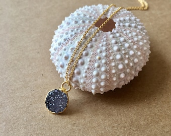 Tiny druzy necklace,navy druzy necklace,every day necklace,boho necklace,gift for her,gift under 50,dainty necklace,delicate necklace,
