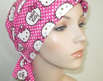 Scrub Cap  Chemo Scarf,  Dotted Hello Kitty Print  Hat, Cancer Hat, Hijab, Alopecia Turban Pediatric Nurses Hat