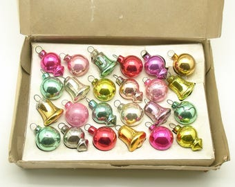 Vintage Christmas Glass Ornaments Pastels Feather Tree Rare Shiny Brite Box of 24