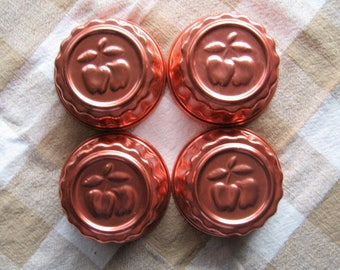 Vintage Copper Molds - Set of 4 - Jell-O Molds, Dessert molds, Apple design, Small molds, Copper, Kitchen utensils, 3.5 inches wide, 1970's
