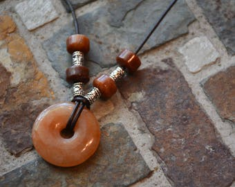 Beaded necklace,  BOHO necklace, Carnelian donut stone and leather necklace,  OOAK