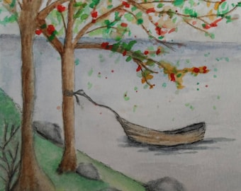 Watercolor Lake and Canoe Card Watercolor Card Greeting Cards Watercolor and Ink Cards Hand Painted Cards