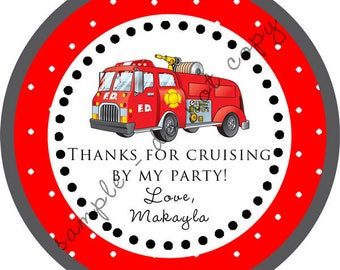DIY Printable File- Fire Truck Fire Captain Party Thank You Stickers, Tags, Labels- Avery Label 22807