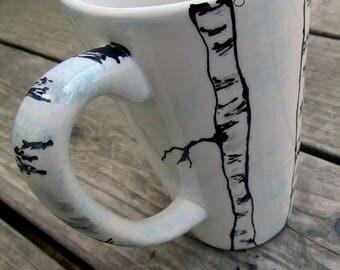 Birch trees ceramic pottery kiln fired mug winter birch tree coffee mug tea mug tall pottery mug 16oz large pottery mugs father's day mug
