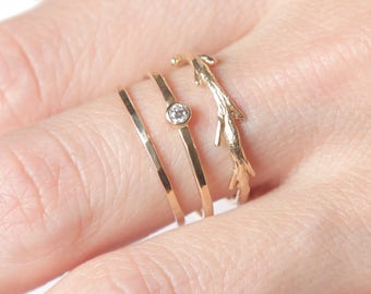 14k Diamond Twig Ring Set  | 14k Gold Ring Set | Conflict Free Diamond