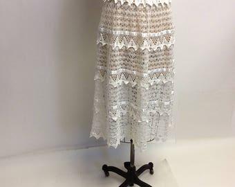 Handmade White Crochet Lace Midi Skirt