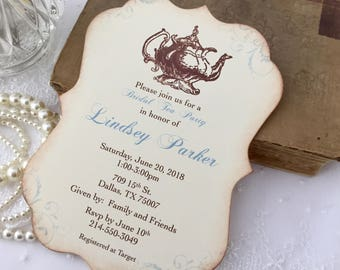 Tea Party Invitations Bridal Shower Set of 10Engagement Tea Party Blue Printed Invitations