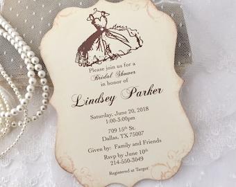 Printed Bridal Shower Invitations, Bridal Shower Invites, Vintage Style, Set of 10
