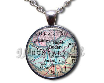 Hungary Map Road Glass Dome Pendant or with Chain Link Necklace MP103