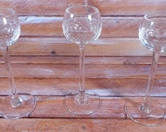 Vintage Crystal Stem Shot Glasses ,Beautiful Vintage Bar Ware,Unique Tall Slim Stem Vintage Shot Glasses ,Retro Bar Decor