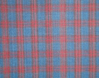 Plaid Fabric | Navy And Wine Plaid Homespun Fabric |  Rag Quilt Fabric | Craft Fabric | Cotton Fabric | Fabric Sold By The Yard