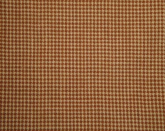 FLAWED Cotton Homespun Fabric Khaki And Tan Fine Check 1 Yard