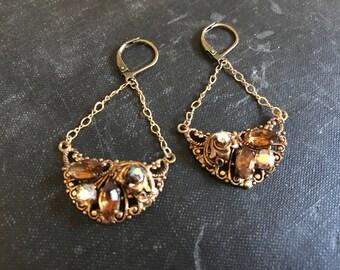 Shine Vintage Repurposed Earrings West German Filigree