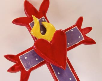 pottery Cross :) red & purple whimsical cut-out Cross has sacred heart with flame
