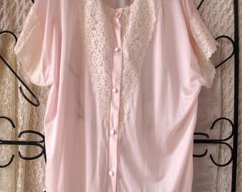 Vintage Pink Lace Bed Jacket Pajama Top Small Retro Nylon Free US Shipping
