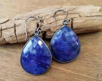 Blue Sapphire Tear Drop Earrings Oxidized Sterling Silver