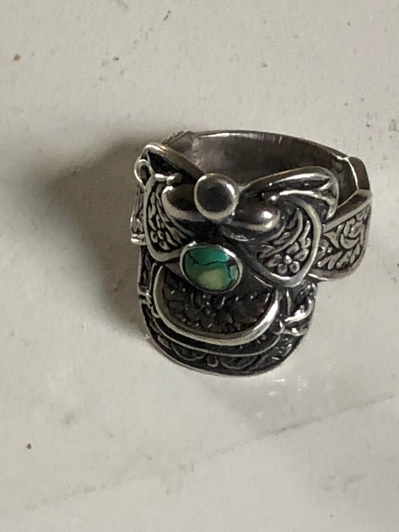 Sterling Silver Western Saddle Ring with Turquoise 925 Size 9.75 (10.3 grams)