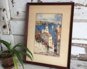 Vintage Watercolor Painting - European Seascape - T. H Papin - Colorful 1950s