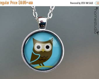 ON SALE - Cute Owl (BLU) : Glass Dome Necklace, Pendant or Keychain Key Ring. Gift Present metal round art photo jewelry by HomeStudio