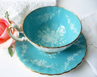 Vintage Aynsley Teacup and Saucer Blue and White Floral Bone China