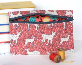Deer Print Zipper Pouch Handmade Wallet
