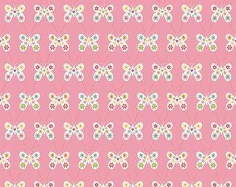 ON SALE Riley Blake Designs Garden Girl by Zoe Pearn - Butterfly Pink