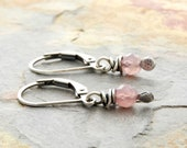 Pink Gemstone Earrings - Round Faceted Rose Quartz Gemstones - Sterling Silver Lever Back #4911